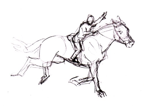 500x370 Galloping Horse Sketch