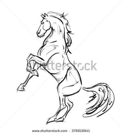 427x470 Galloping Horses. Hand Drawn Illustration Drawing Horses