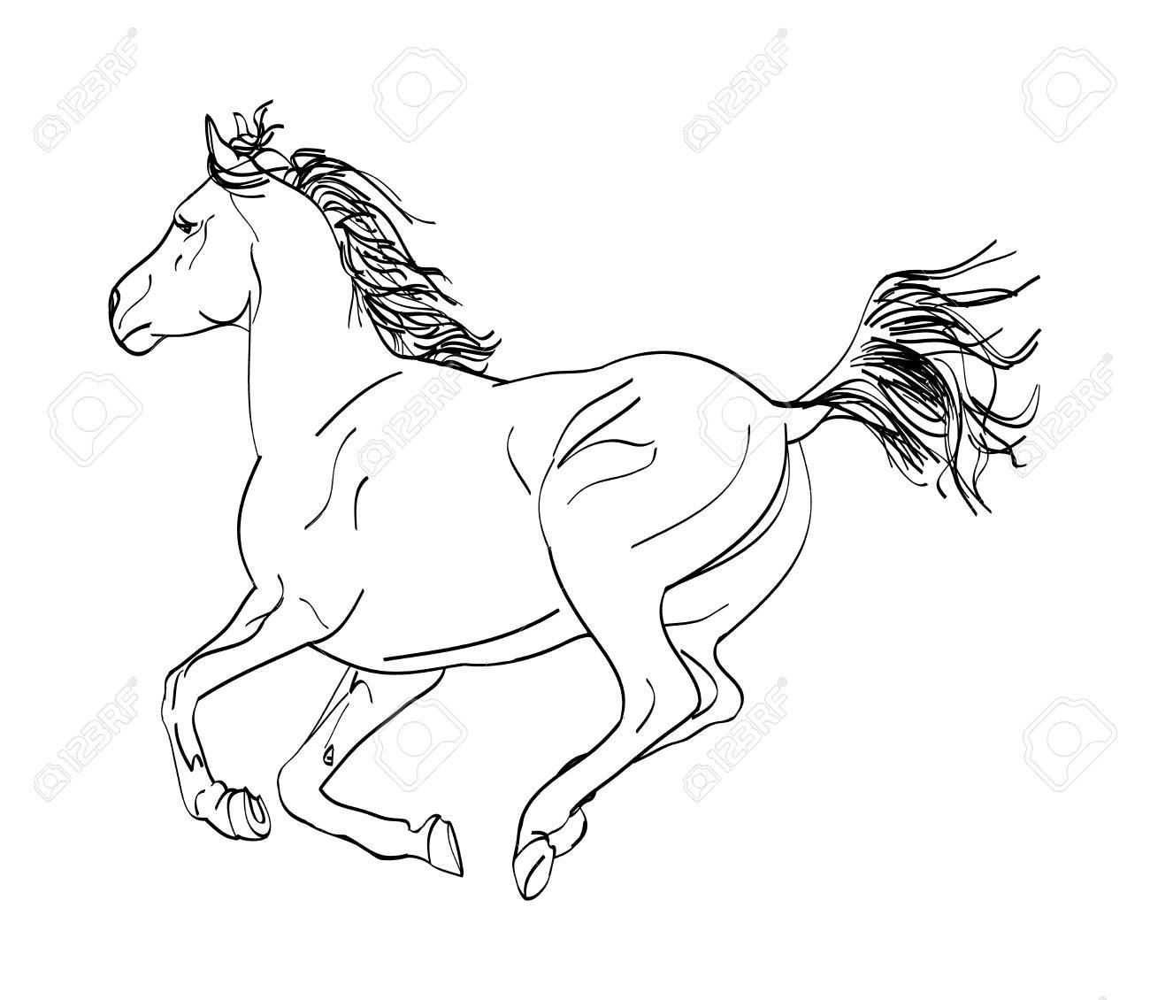 1300x1130 Graphic Image Of A Galloping Horse. The Outline Of A Horse