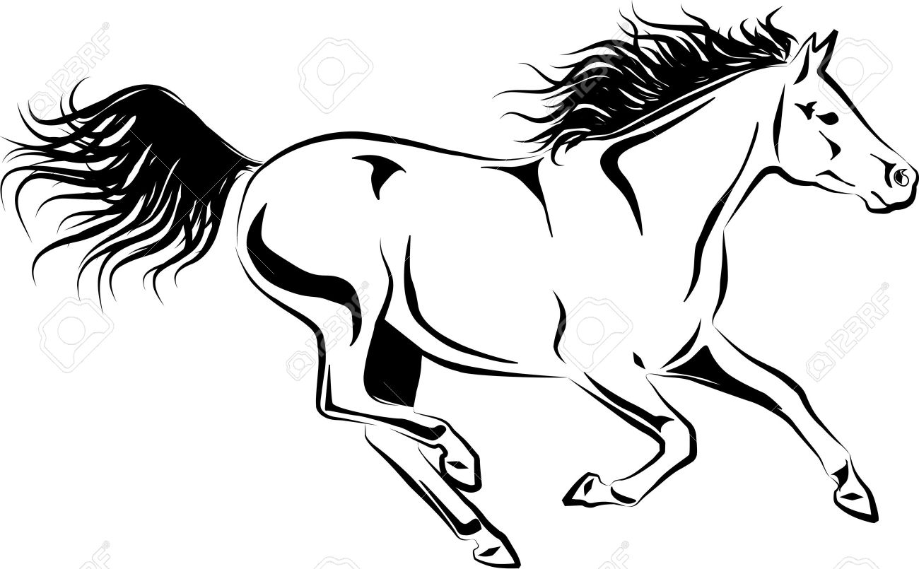 1300x805 Illustration Of Galloping Horse Royalty Free Cliparts, Vectors