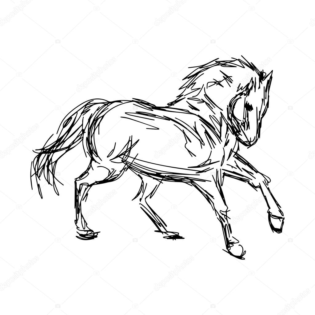 1024x1024 Illustration Vector Hand Drawn Of Galloping Horses Isolated