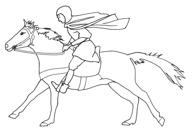 750x531 Coloring Page Horse Rider Galloping