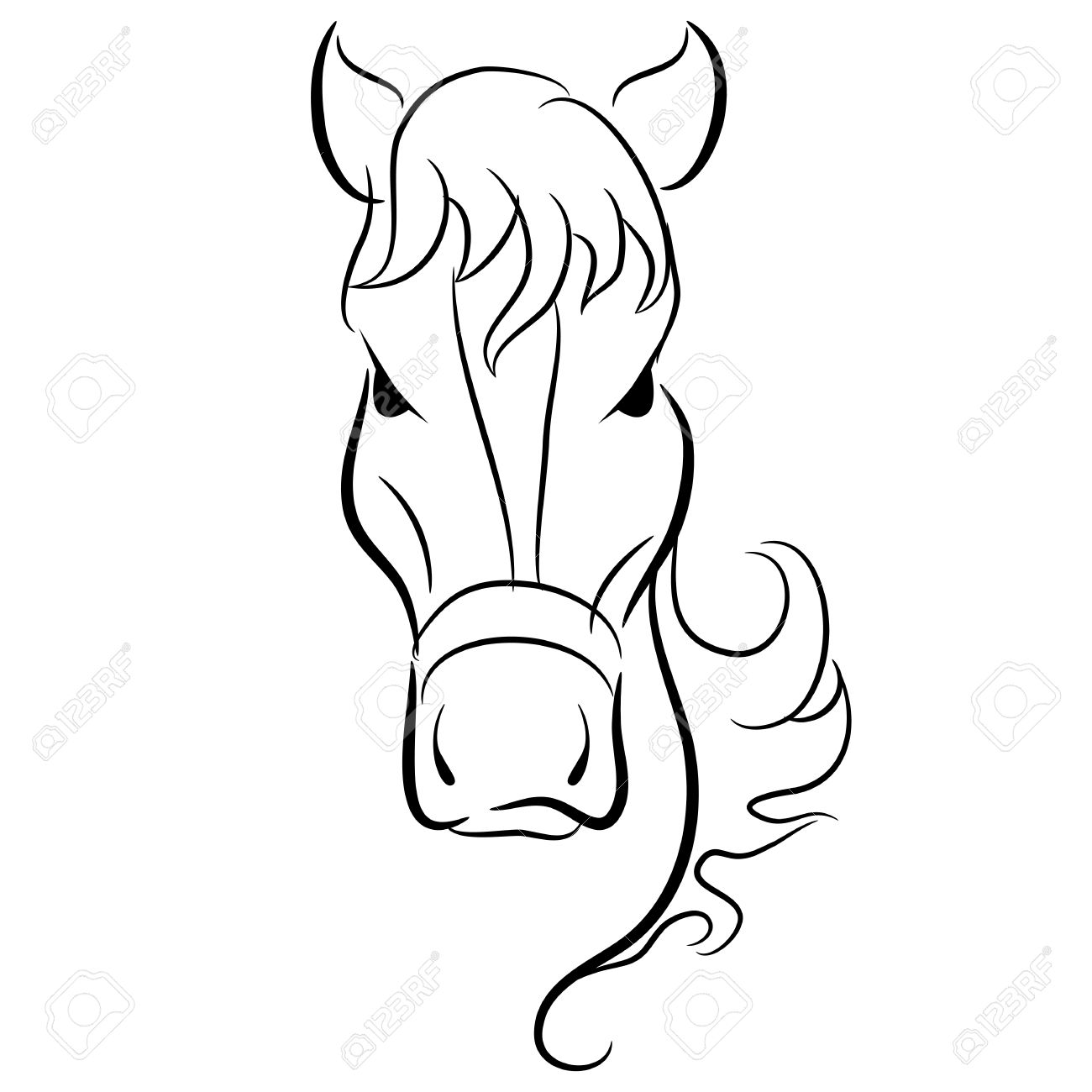 1300x1300 An Image Of A Simple Drawing Of A Horse Head. Royalty Free
