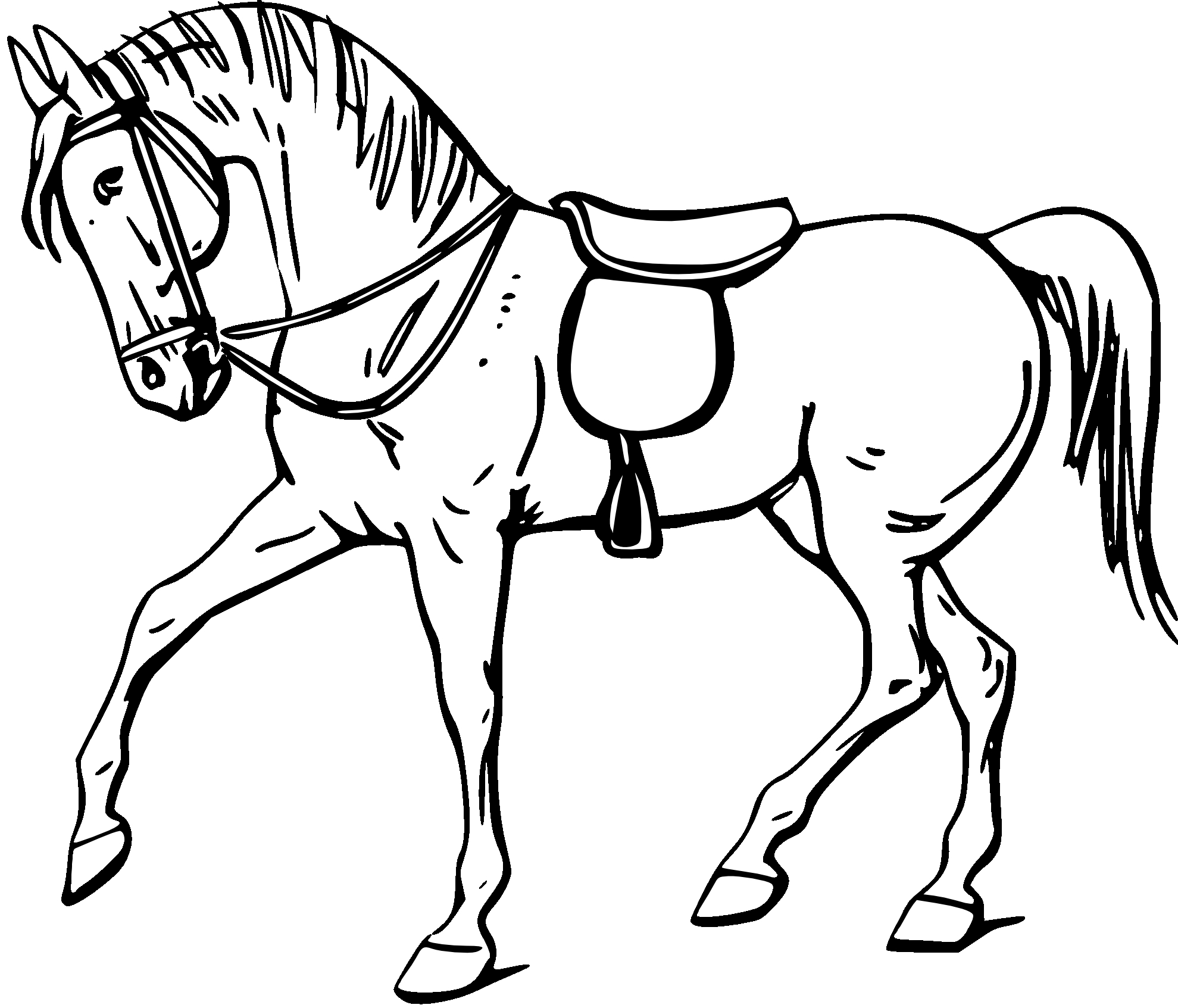 1979x1693 Horse Outline For Coloring Simple Horse Outline