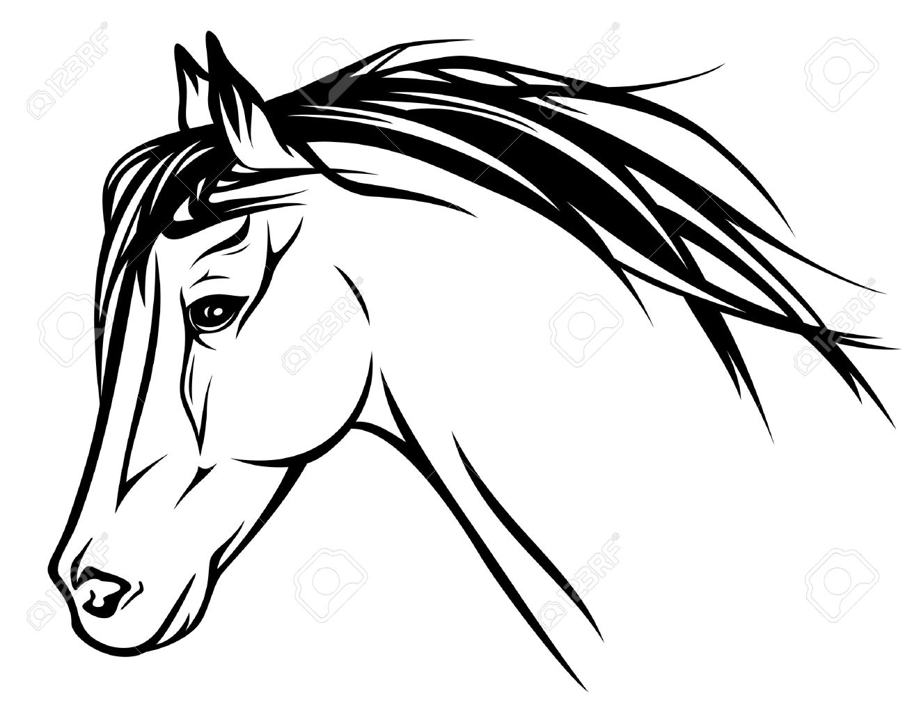 1300x1023 Running Horse Head Black And White Outline Royalty Free Cliparts