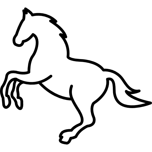512x512 White Jumping Horse Outline