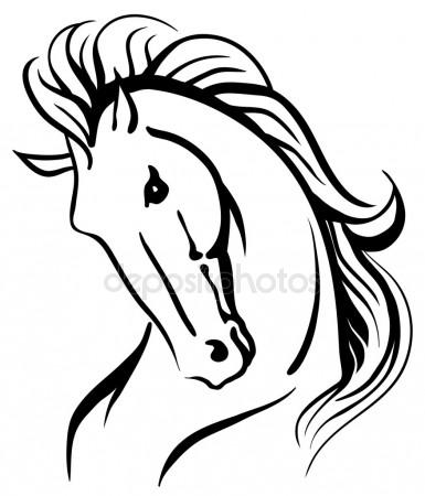 385x450 Isolated Vector Drawing Of Horse Head Stock Vector Anilin