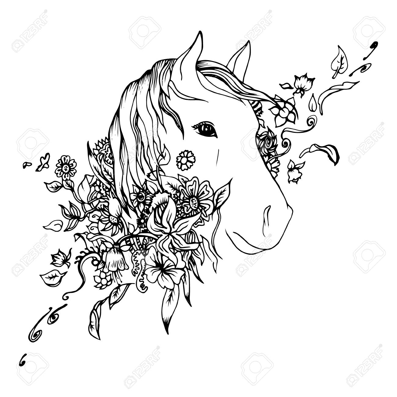 1300x1300 Black And White Horse Head Isolated. Engraving Sketch. Abstract