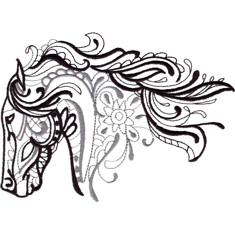 800x800 Horse Head Machine Embroidery Designs
