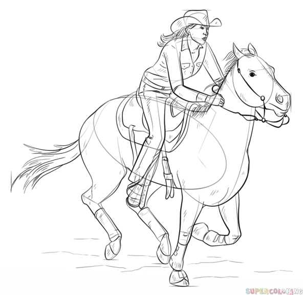 592x575 How To Draw Cowgirl On A Horse Step By Step Drawing Tutorials