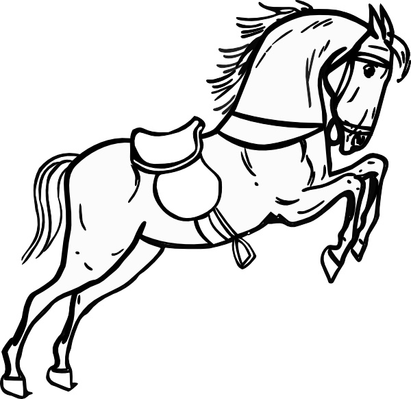 600x582 Jumping Horse Outline Clip Art Free Vector In Open Office Drawing