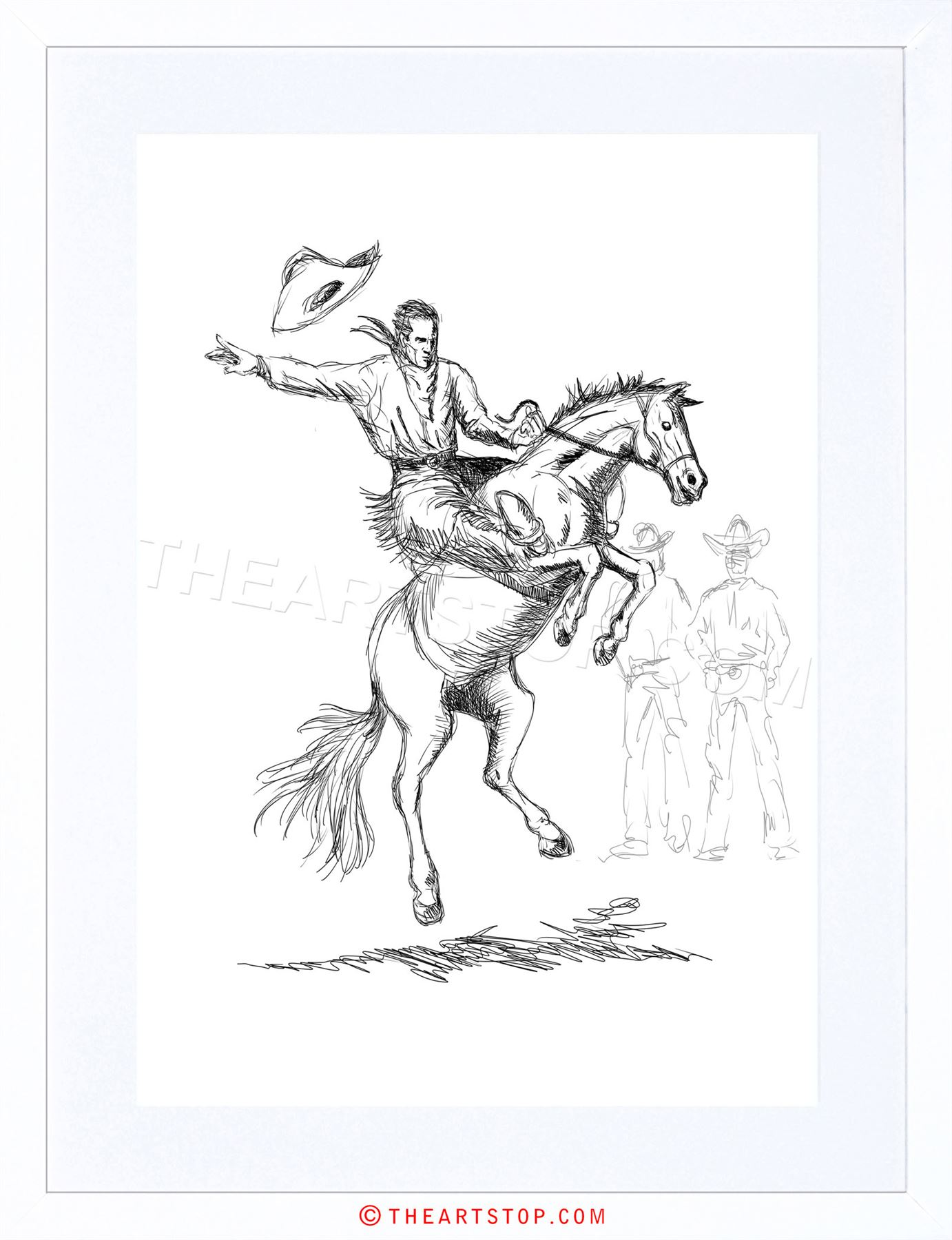 1382x1800 Painting Drawing Sketch Rodeo Cowboy Horse Hat Bronco Buck Framed