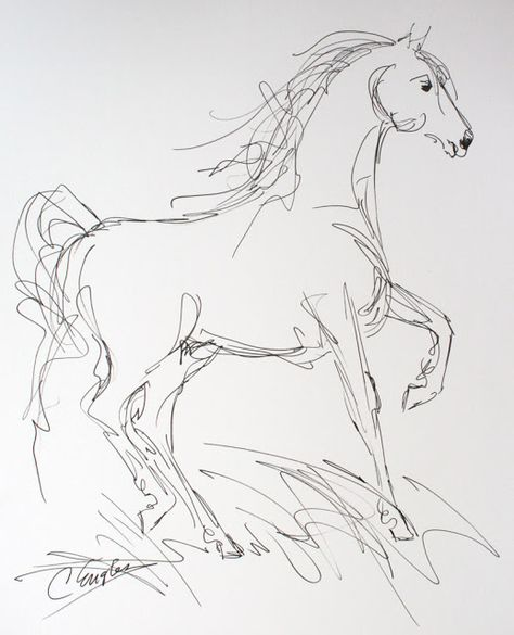 474x585 Daily Painters Abstract Gallery Morgan Horse, Eight, Ink Drawing