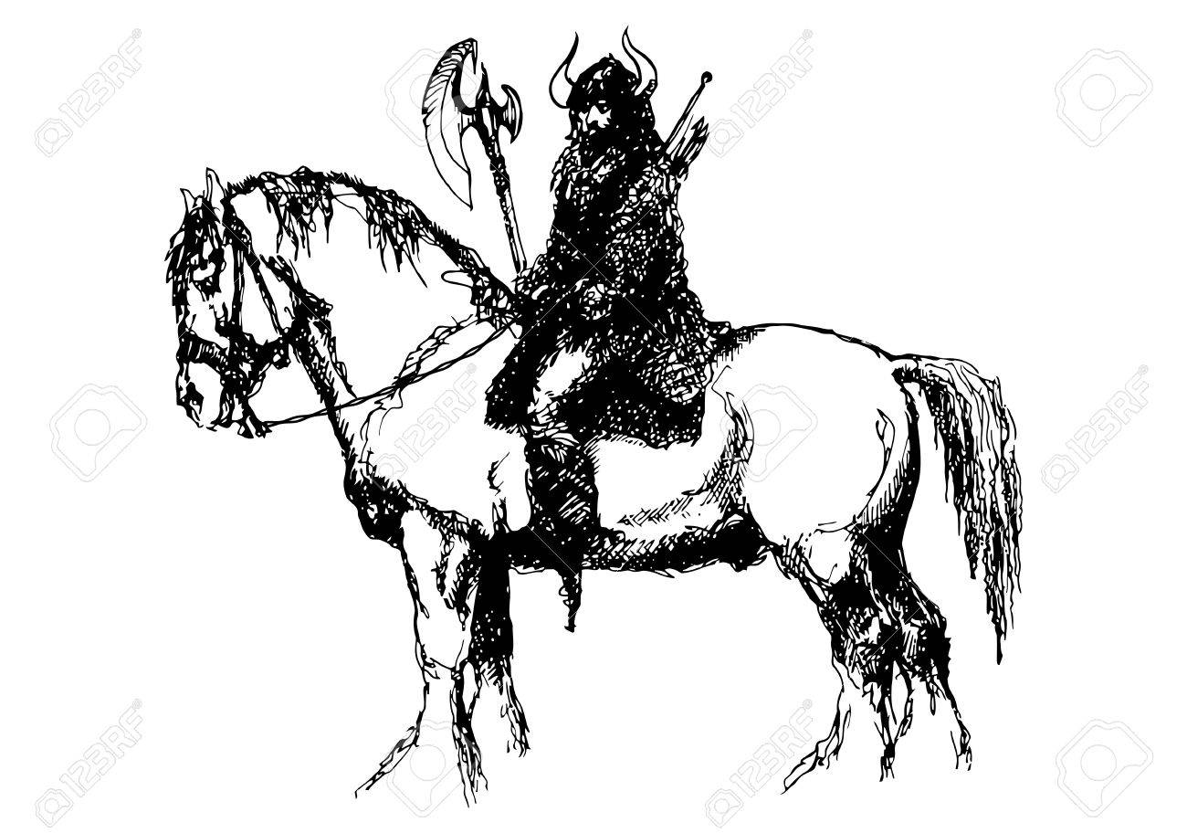 1300x912 Horse And Viking Ink Drawing I Did Years Ago Stock Photo, Picture