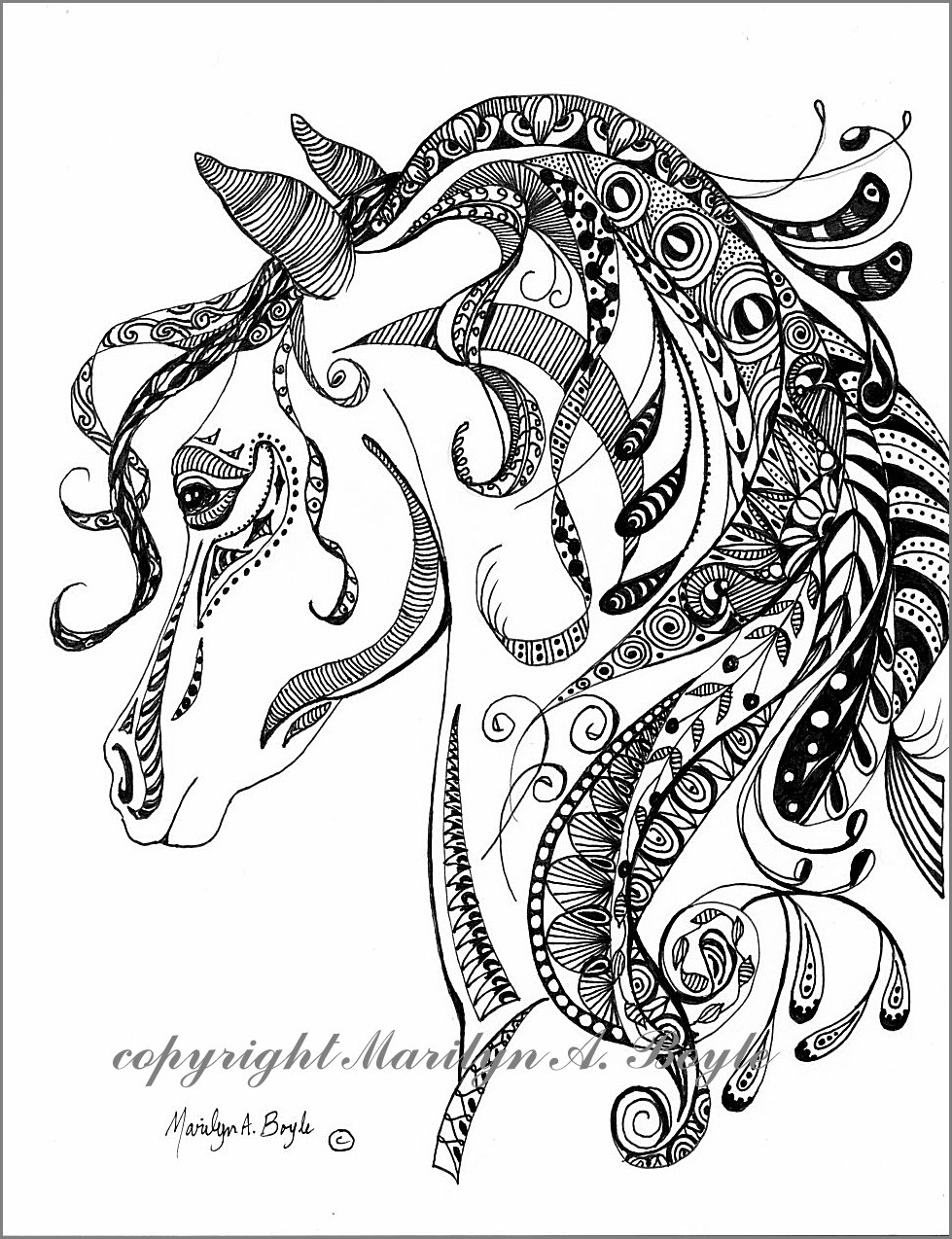 979x1274 Original Ink Drawing Zentangle, Doodle, Art, Pen And Ink, Black