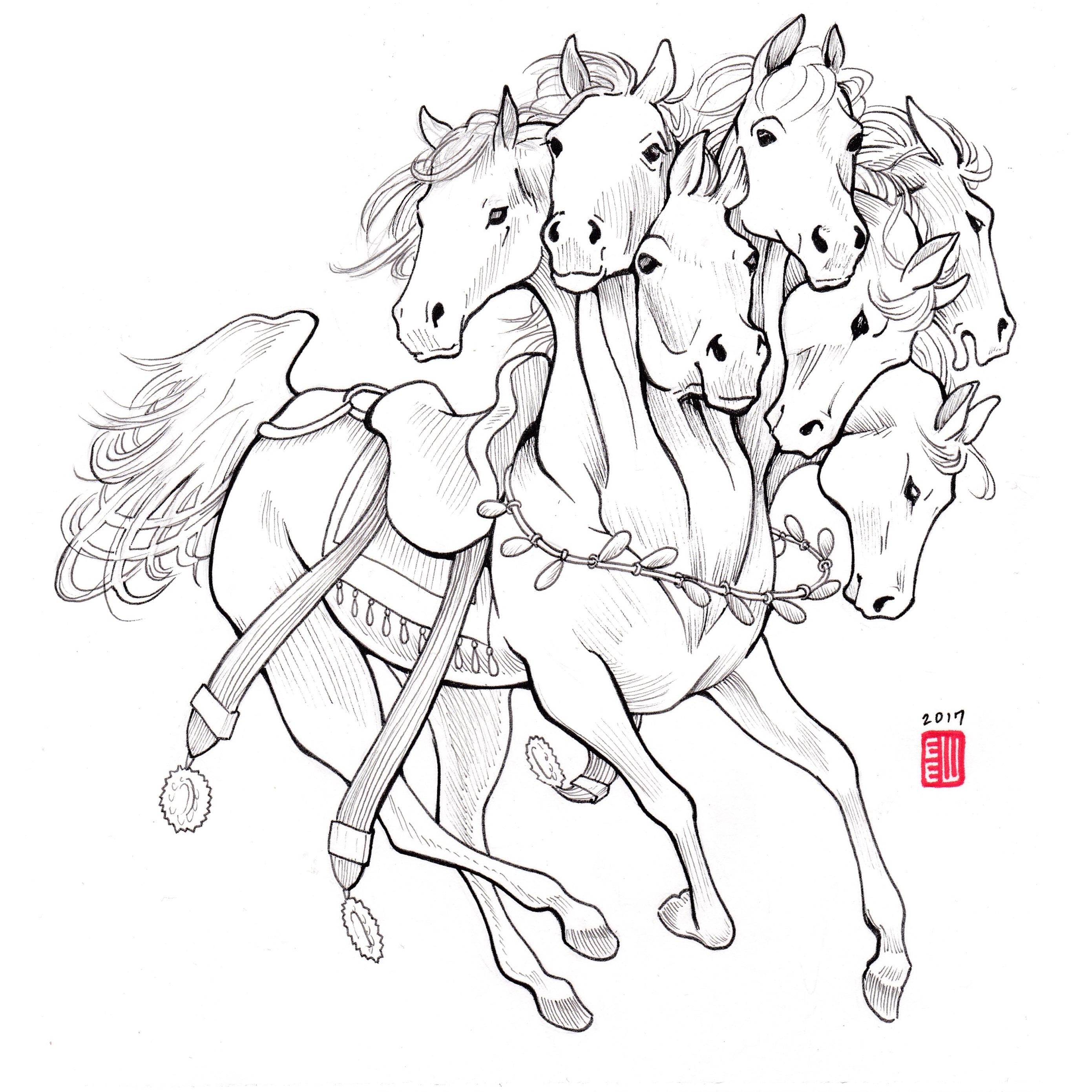 2782x2782 Uchchaihshravas Original Pen Drawing Erica Ward Illustration