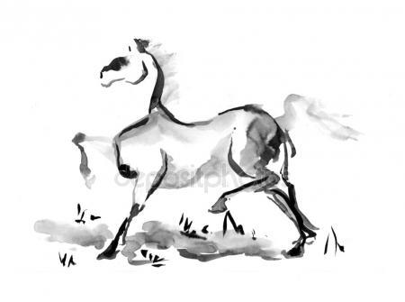 450x335 Engrave Ink Draw Horse Illustration Stock Photo Turaevgeniy