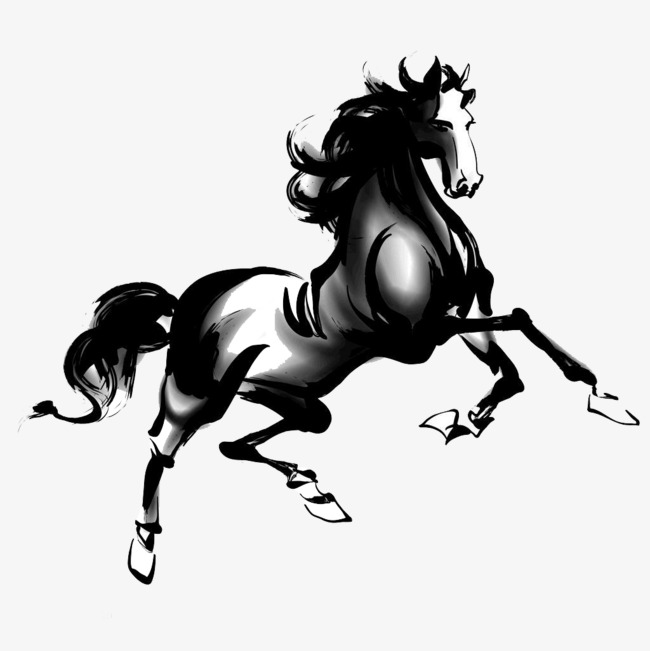 650x651 China Wind Ink Horse Pictures, Chinese Style, Ink, Steed Png Image