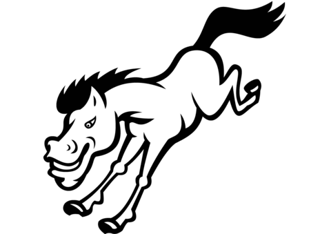 480x339 Bronco Horse Jumping Coloring Page Free Printable Pages