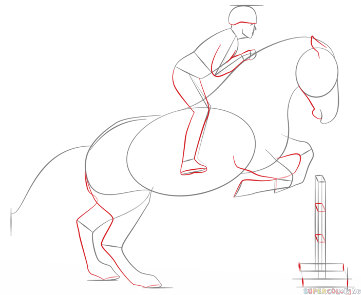 703x575 How To Draw A Jumping Horse Step By Step. Drawing Tutorials