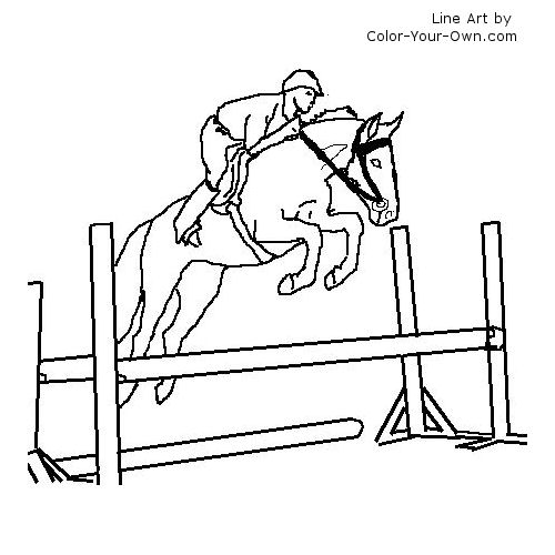 500x500 Warmblood Jumping Horse Under Saddle Coloring Page