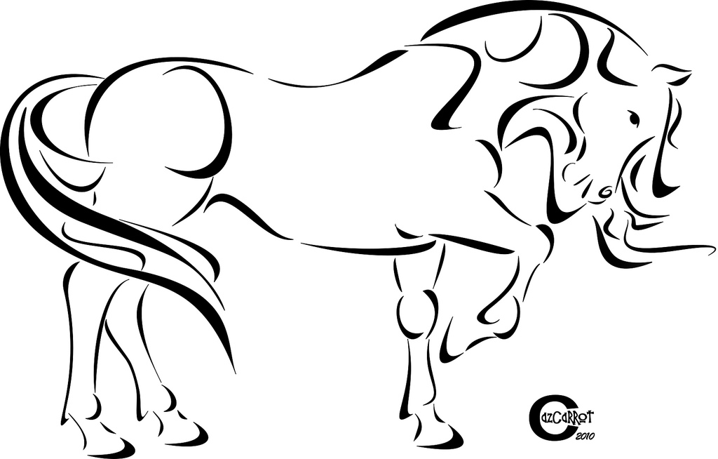 1024x654 Tribal Horse Simple Line Drawing Of A Horse In A Tribal