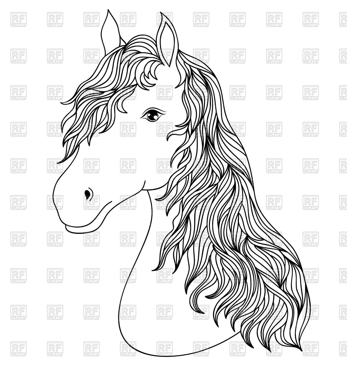 1140x1200 Hand Drawn Head Of Horse Royalty Free Vector Clip Art Image