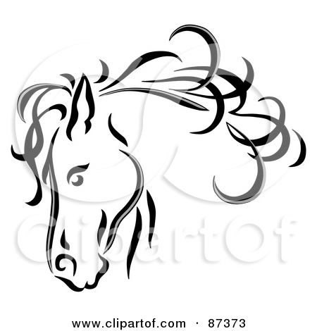 450x470 Royalty Free (Rf) Clipart Illustration Of A Black Line Art Horse