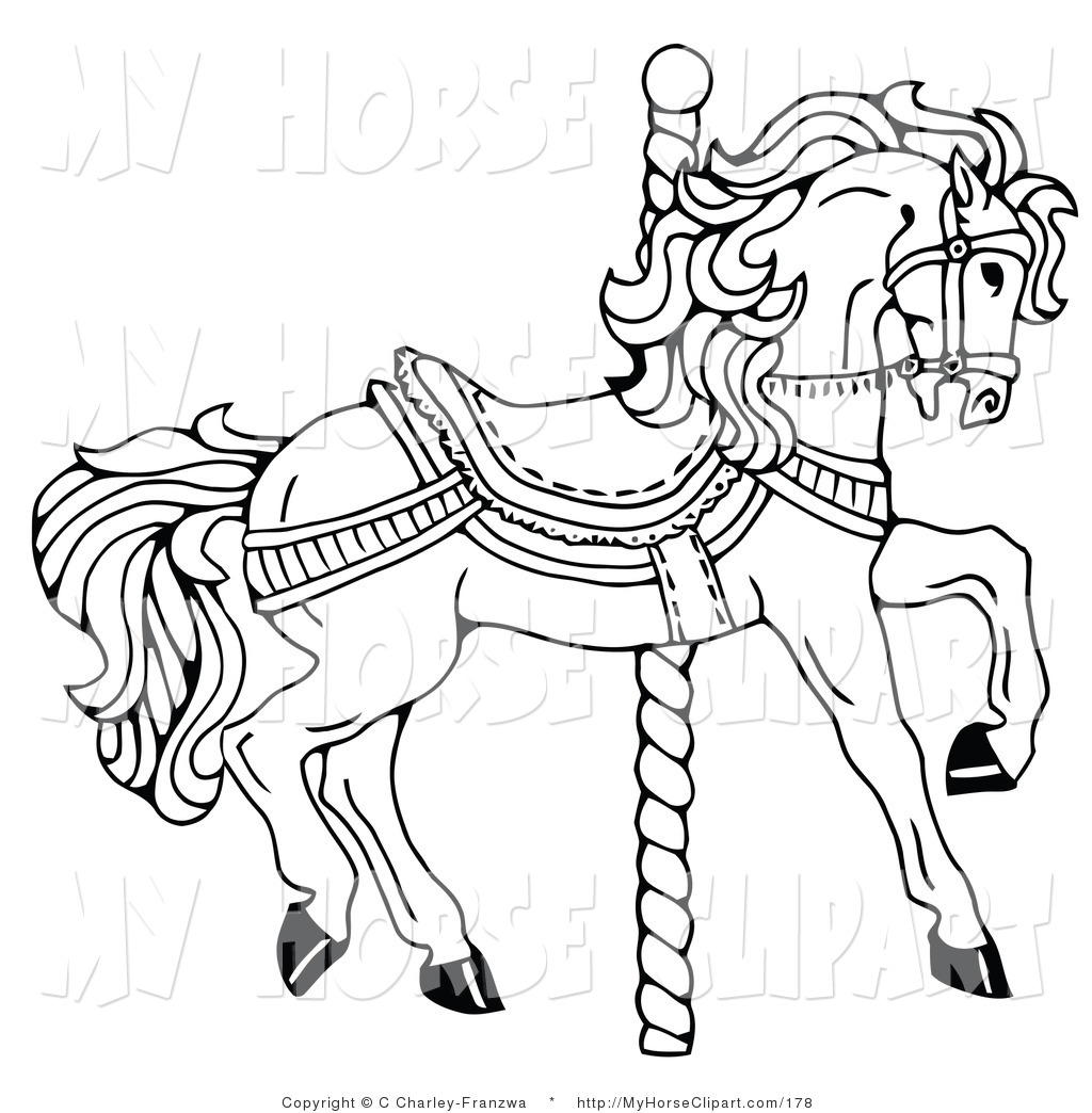 1024x1044 Cliprt Of Coloring Page Of Carousel Horse Facing Right, On