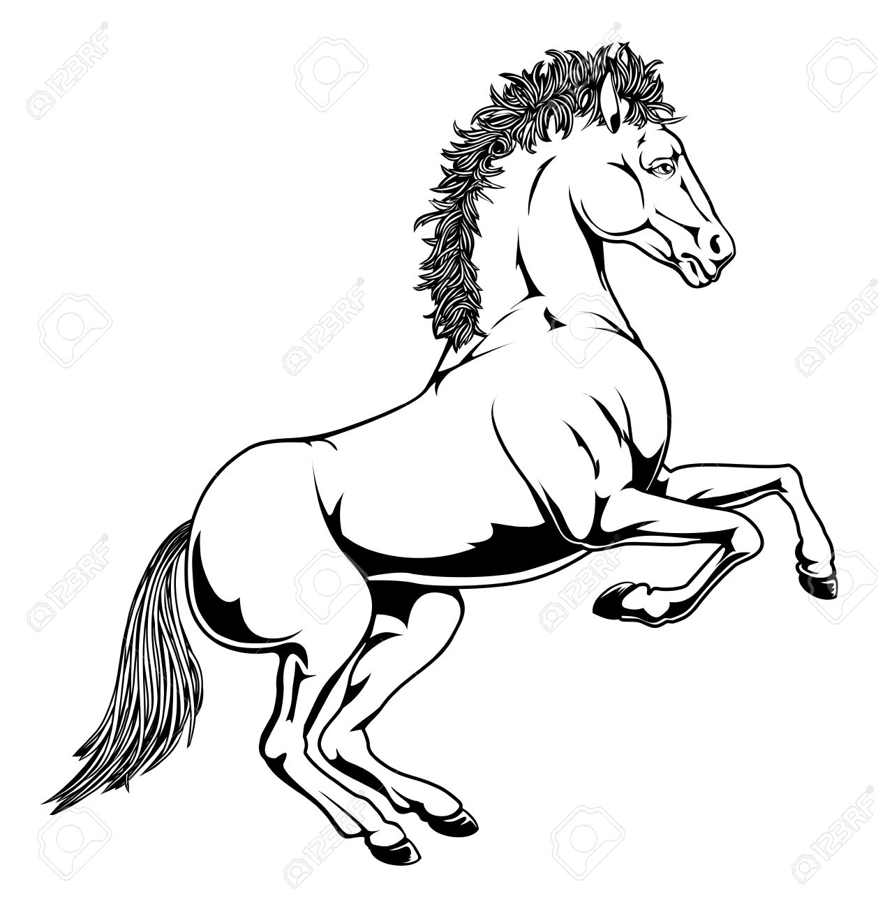 1258x1300 An Illustration Of A Black And White Monochrome Horse Rearing