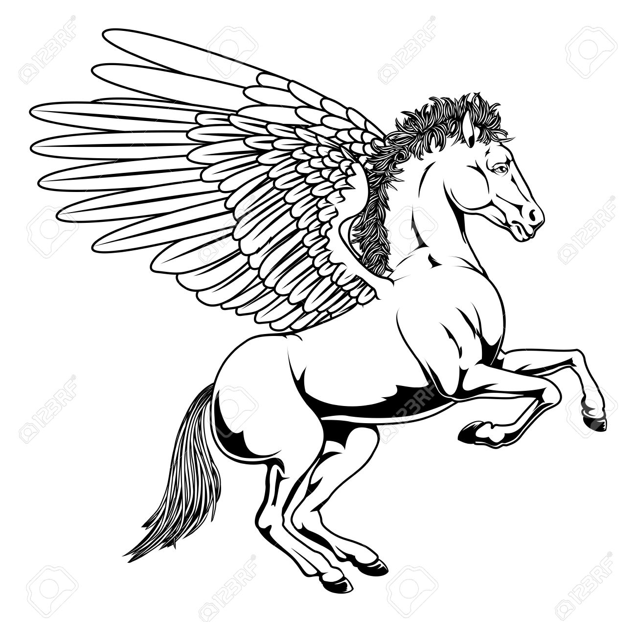 1300x1270 Pegasus Horse With Wings Rearing On Its Back Legs In Black
