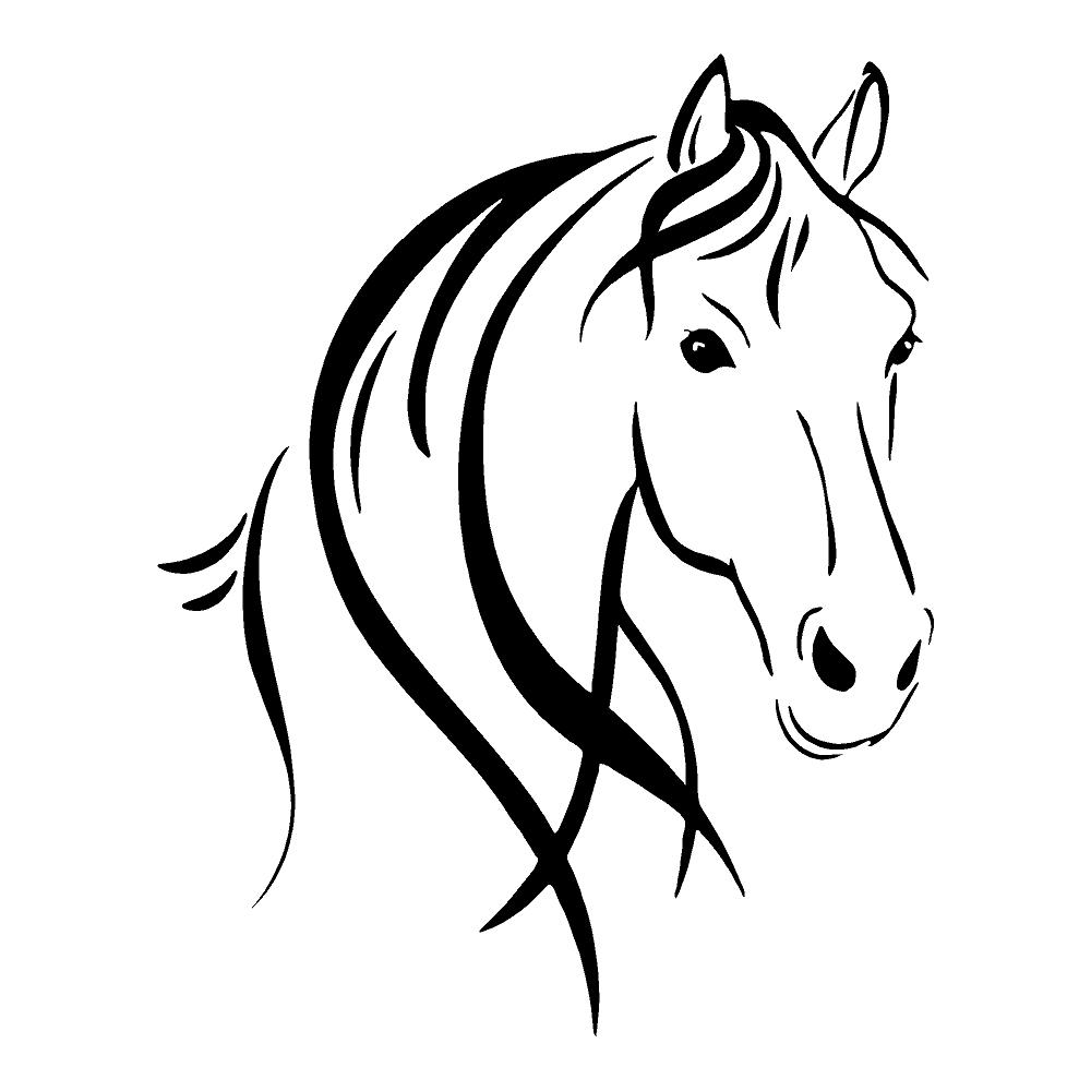 1000x1000 Horse Head Outline Group