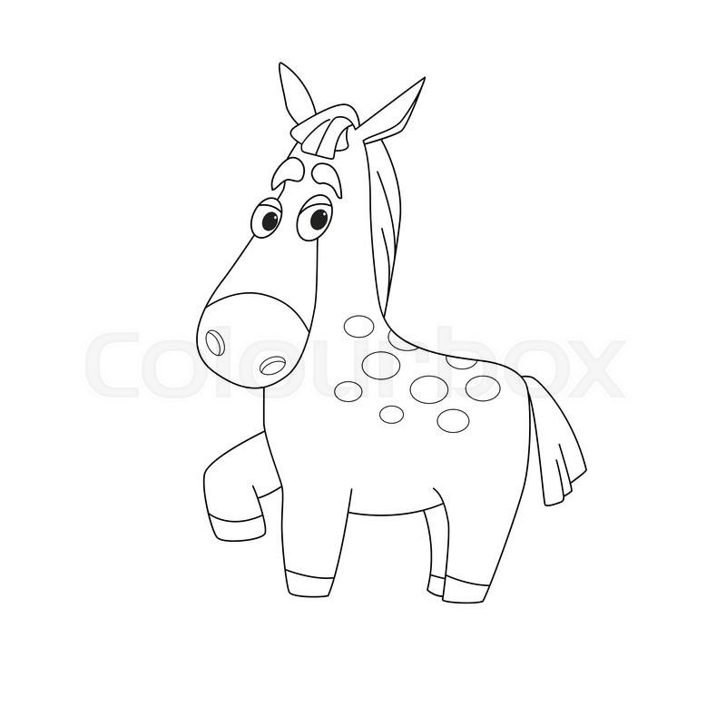 800x800 Outline Illustration Horse. Cartoon Outline Illustration