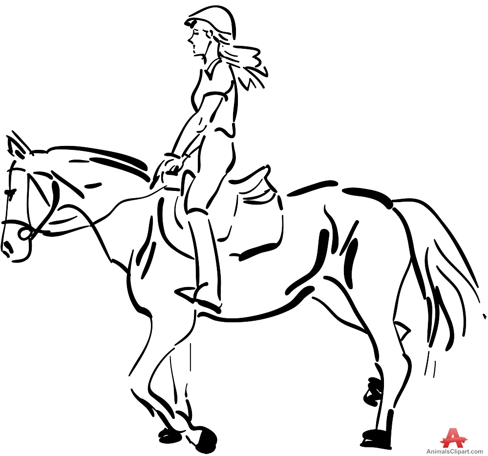 999x934 Ride A Horse Clipart Black And White