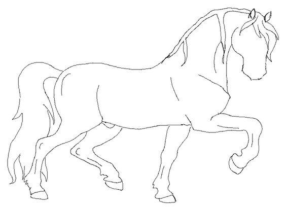 564x412 Horse Outline Printable Graceful Black Line Art Trotting Horse