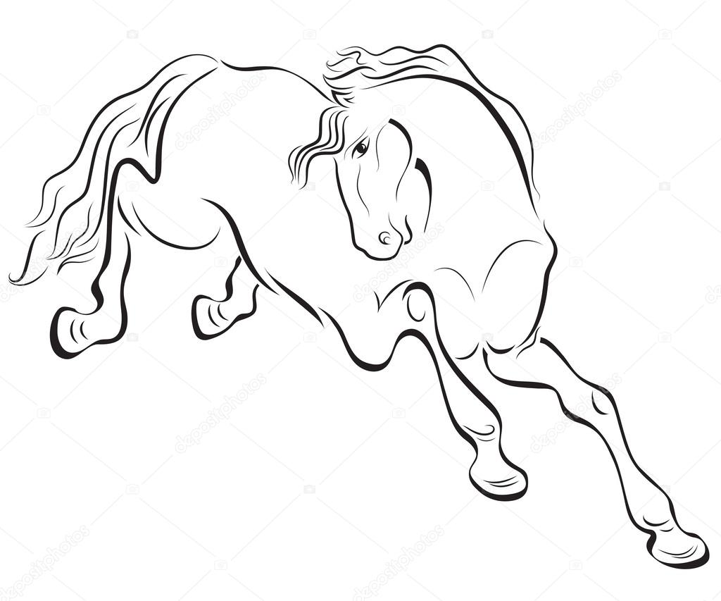 1024x853 Black And White Outline Horse Vector Drawing. Stock Vector