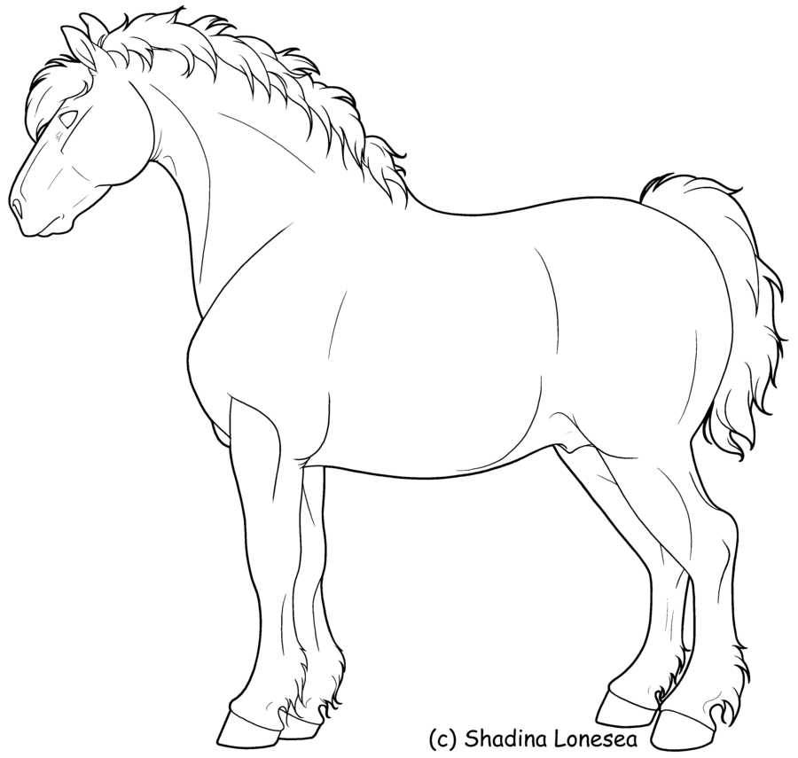 900x855 Draft Horse Lineart By Shadinalonesea On Coloring