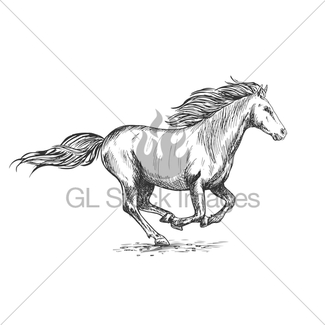 325x325 Brown Horse Rearing On Hind Hoof Sketch Portrait Gl Stock Images