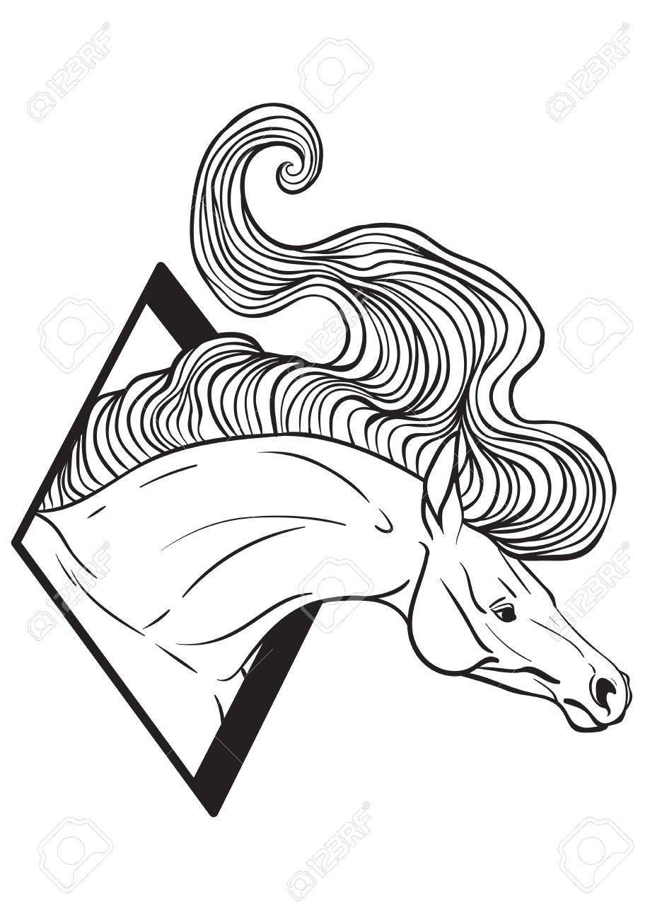 919x1300 Coloring Page With Horse Portrait Royalty Free Cliparts, Vectors