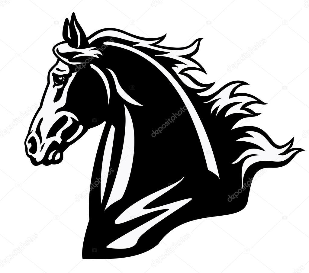 1023x904 Horse Head Black And White Profile Stock Vector Insima