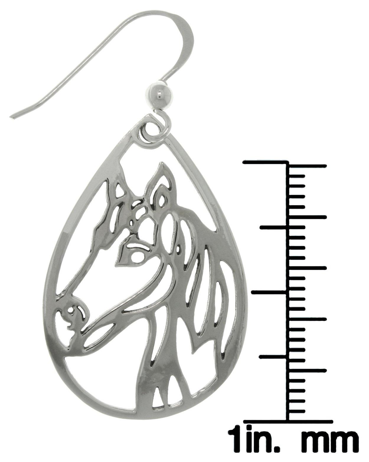 1250x1564 Jewelry Trends Sterling Silver Horse Profile Teardrop Dangle