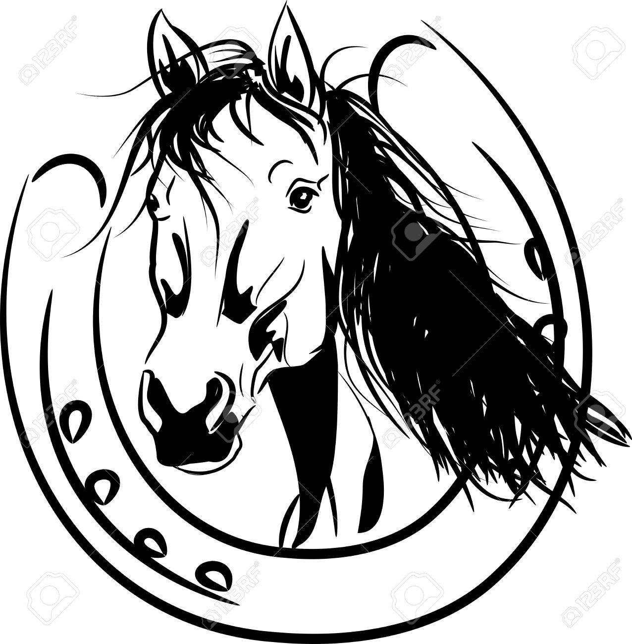 1276x1300 Vector Illustration Of Horse Head In Golden Horseshoe Royalty Free