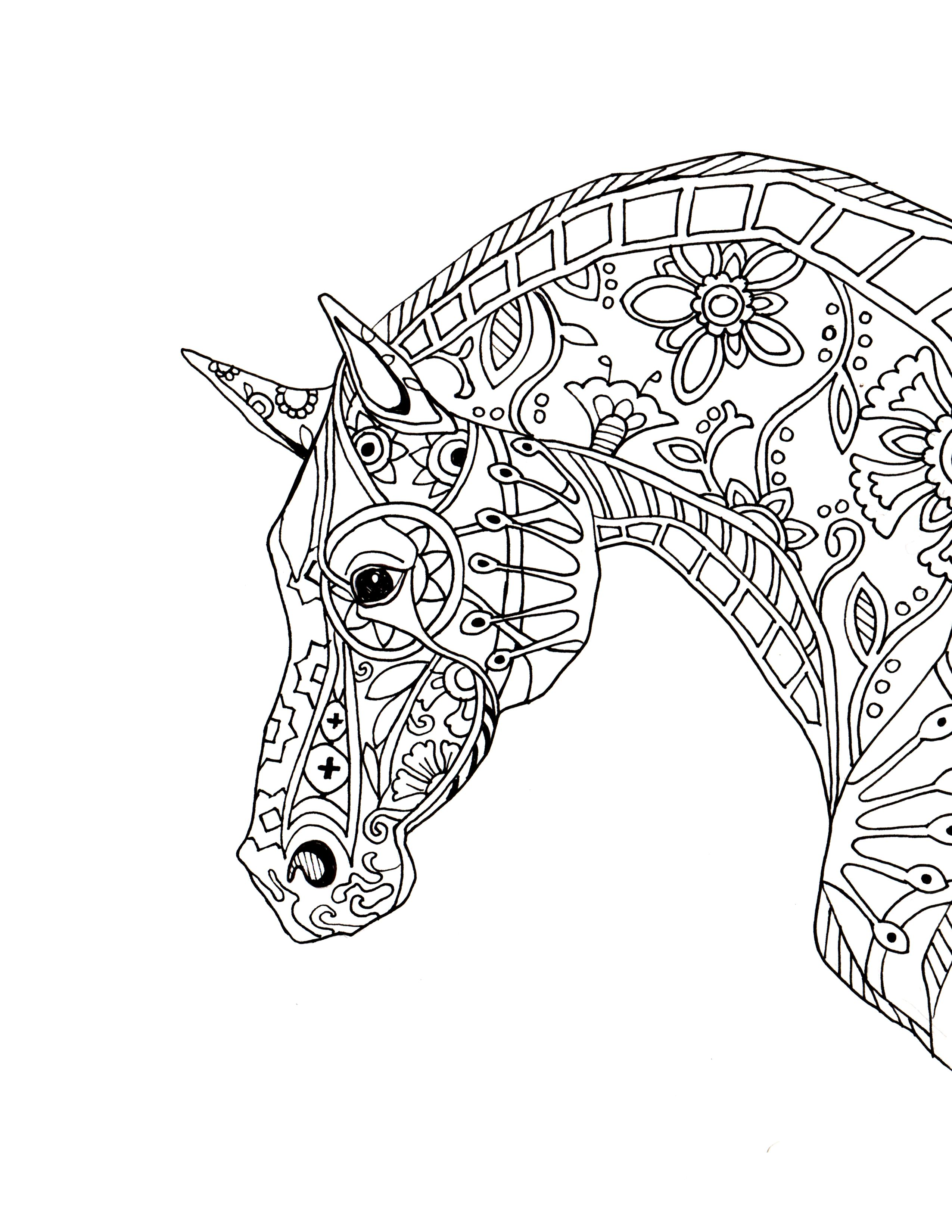 2550x3300 Decorative Horse Profile For Print Kids Art Projects Pinterest