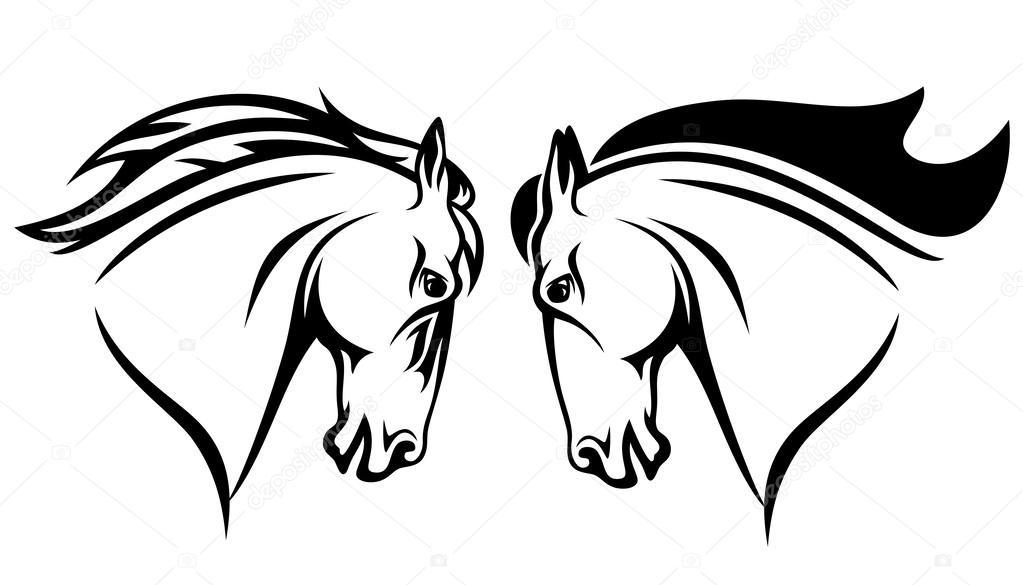 1023x585 Horse Profile Stock Vector Cattallina