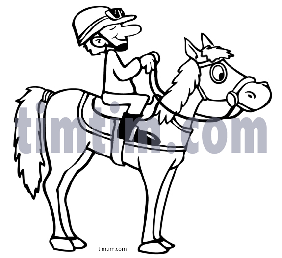 575x526 Free Drawing Of A Race Jockey Bw From The Category Farm Animals