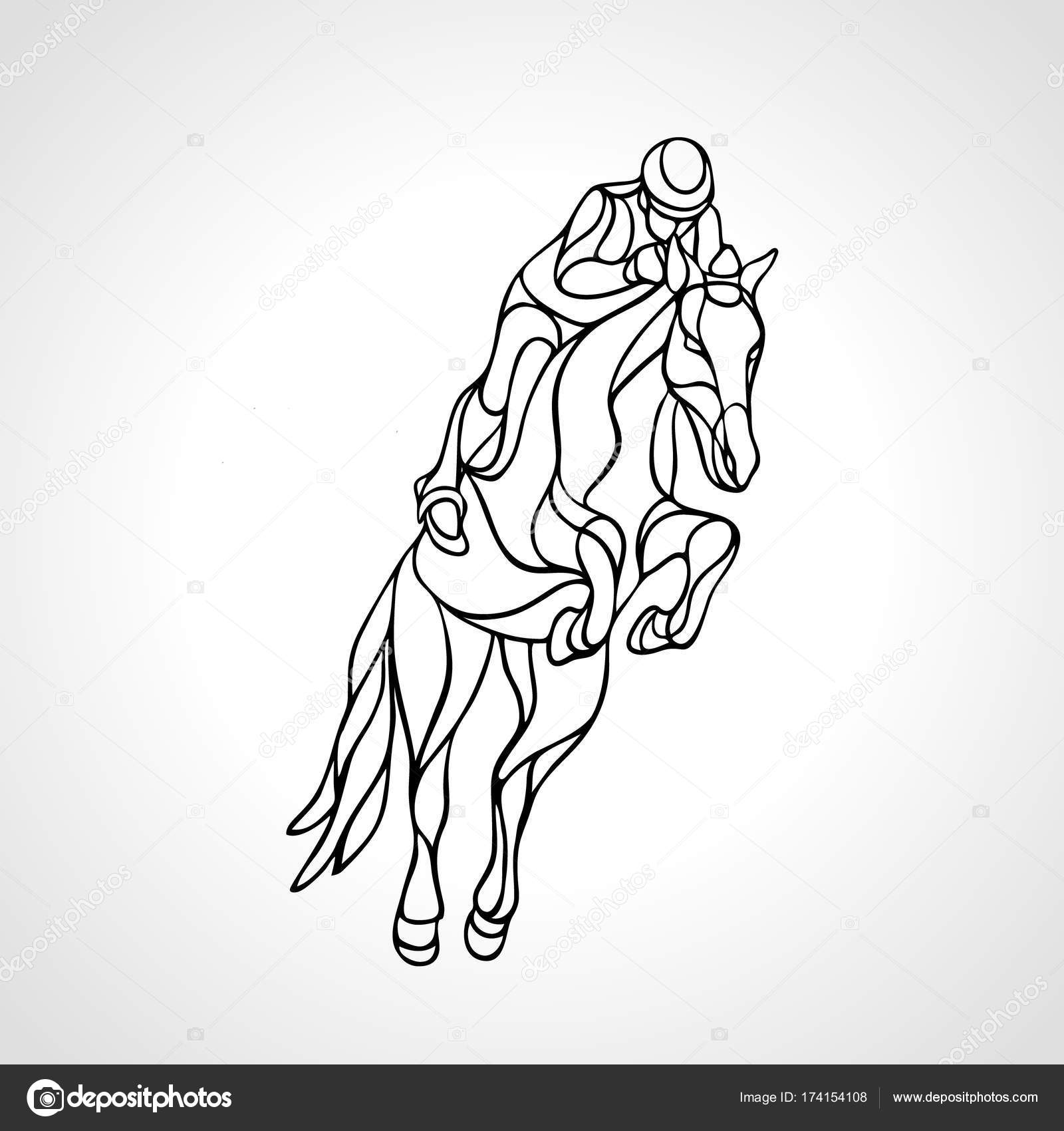 1600x1700 Horse Race. Equestrian Sport. Silhouette Of Racing With Jockey