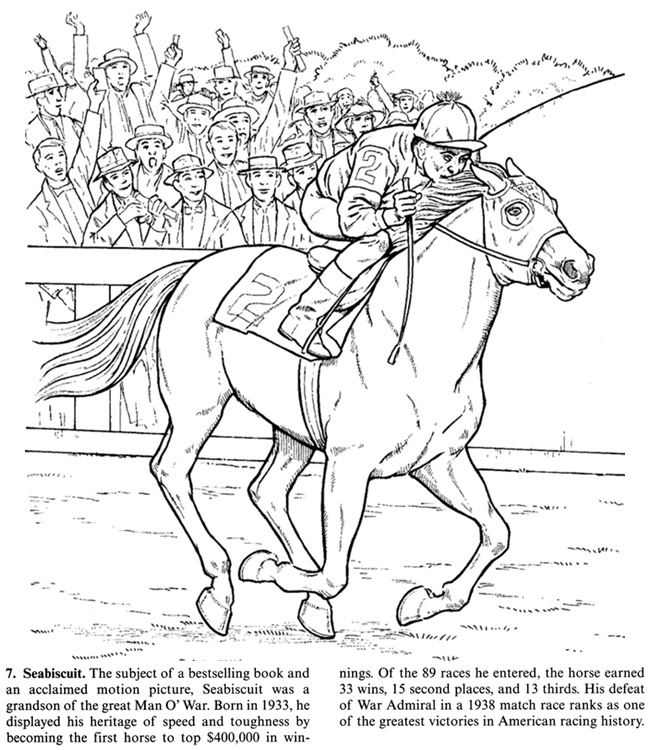 650x750 Horse Coloring Page Of The Famous Seabiscuit Adult Color Page