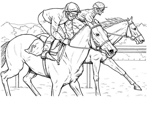 600x468 Horse Racing Coloring Pages Race Printable