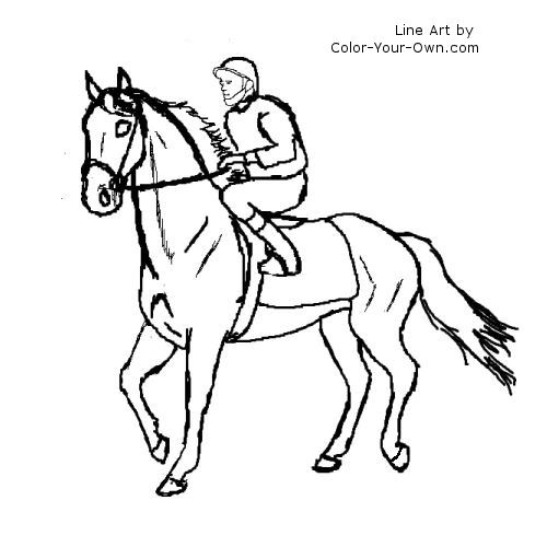 500x500 Horse Racing Coloring Pages