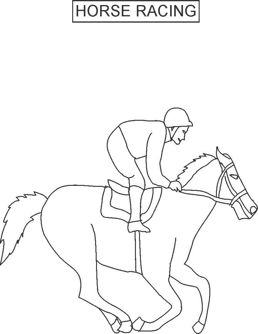 822x1062 Horse Racing Coloring Printable Page For Kids
